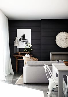 30 Amazing Photo of Shiplap Living Room . Shiplap Living Room 15 Rooms That Prove Black Shiplap Is The New White Shiplap Dark Coastal Living Rooms, Home And Living, Living Room Decor, Living Spaces, Living Area, Dining Room, Feature Wall Living Room, Black Living Rooms, Modern Living