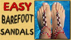 How lovely these barefoot sandals are! They make your beautiful feet even more sexier. Making a pair of DIY barefoot sandals are simple, and there are many Barefoot Sandals Tutorial, Crochet Barefoot Sandals, Beaded Sandals, Jewelry Clasps, Diy Jewelry, Beaded Jewelry, Jewelry Making, Beaded Bracelets, Jewelry Ideas
