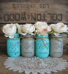 Mason Jars Ball jars Painted Mason Jars by TheShabbyChicWedding - Okay. I'm officially obsessed with painted mason jars. Colored Mason Jars, Pint Mason Jars, Ball Mason Jars, Pots Mason, Wedding Mason Jars, Burlap Mason Jars, Mason Jar Crafts, Rustic Wedding Centerpieces, Wedding Decorations
