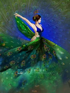 Fantasy art by Scarlett Chou - Ego - AlterEgo Beautiful Birds, Beautiful Pictures, Peacock Dress, Peacock Colors, Peacock Feathers, Peacock Tail, Peacock Decor, Peacock Theme, Peacock Painting