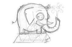 cartoon elephant sketch drawing