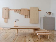 Wood Peg Furniture Line by Studio Gorm.  store flat on the wall when not in use.....0sgpegwl01.jpg
