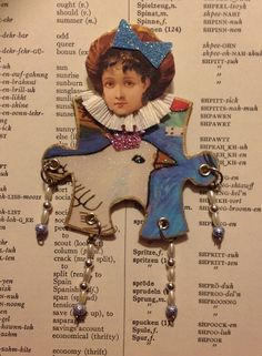 Items similar to Paper Doll Mixed Media Art Doll Altered Puzzle Piece White Dove Victorian Girl OOAK Paper Art on Etsy Puzzle Piece Crafts, Puzzle Art, Puzzle Pieces, Paper Dolls, Art Dolls, Puzzle Jewelry, Game Pieces, Artist Trading Cards, Altered Art