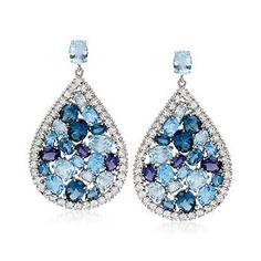46.60 ct. t.w. Multi-Gem Earrings in Sterling Silver