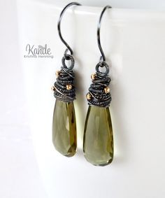 Olive Green Drop Earrings by Kande Jewelry
