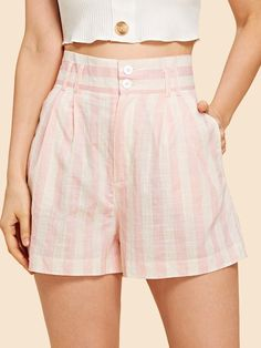 SheIn offers High Waist Buttoned Striped Shorts & more to fit your fashionable needs. Diy Shorts, Cute Shorts, Striped Shorts, Casual Shorts, Short Outfits, Short Dresses, Cute Outfits, Stylish Outfits, Cute Fashion