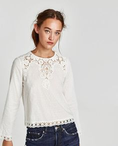 TOP WITH DOTTED MESH AND GUIPURE LACE-View all-TOPS-WOMAN | ZARA United States