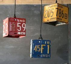 Home Decoration Ideas Ikea Vintage Industrial Red Pendant Lamp Repurposed Assemblage Hanging Studio Light License Plate Crafts, Old License Plates, License Plate Art, License Plate Ideas, Red Pendants, Vintage Industrial Furniture, Vintage Metal, Man Cave Garage, Garage Bar