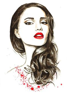 Print from Original Watercolor Fashion Illustration Modern Art Painting titled Aroma of Your Lips