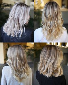 Some of our recent favorite blonde color work featuring bight cool blondes, balayage, classic highlights, & sunkissed shoulder length styles!