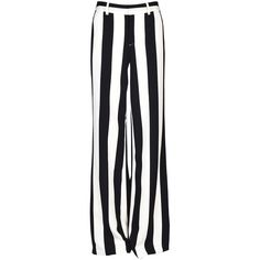 Striped Trousers From Alice  Olivia: Black White Striped Trousers With Concealed Front Fastening, Waistband With Belt Loops, Two Side Pockets, Two Sl featuring polyvore women's fashion clothing pants black and white stripe pants black and white trousers waistband pants alice olivia pants black and white striped trousers