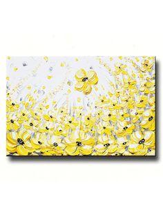 "GICLEE PRINT Art Yellow Grey Abstract Painting Modern Coastal Canvas Prints Horizontal Gold White Wall Decor XL size to 60"" -Christine"