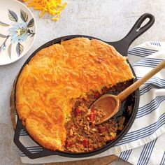 Storebought corn muffin mix makes a quick and easy topping for this spicy and hearty tamale pie.