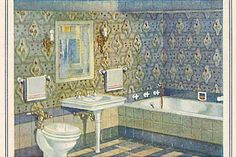 1920s bath-- I'd like to do a modernized version of this by keeping the tile around the tub but making an all glass surround for an added shower, that way it looks like just a tub but has a shower, too.