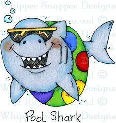 Pool Shark - Sealife - Animals - Rubber Stamps