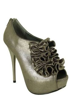 Ruffle Bootie In Pewter