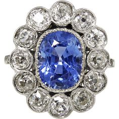 Edwardian CIRCA 1900 GIA 7.00ct NO HEAT Sapphire Diamond Cluster Engagement Platinum Ring.. s