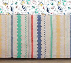 Margherita Missoni for Pottery Barn Kids Colorful Crib Skirt, primary colors crib skirt, linen crib skirt