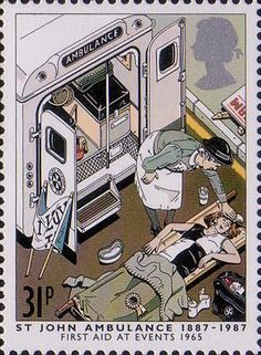 Centenary of St John Ambulance Brigade 31p Stamp (1987) Volunteer with fainting Girl, 1965