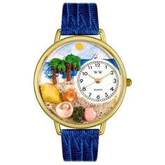 Whimsical Unisex Palm Tree Royal Blue Leather Watch