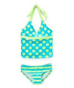 Look what I found on #zulily! Turquoise Luau Dot Tankini Top & Bottoms - Girls #zulilyfinds