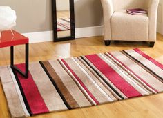 Inspire Broad Stripe Brown/Red Rug