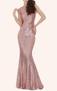 MACloth Mermaid Sequin Long Bridesmaid Dress Rose Gold Prom Dress