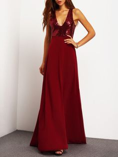 Shop Burgundy Deep V Neck Sequined Maxi Dress online. SheIn offers Burgundy Deep V Neck Sequined Maxi Dress & more to fit your fashionable needs.