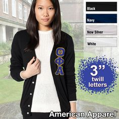 Theta Phi Alpha Cardigan with Twill Letters $32.99 #Greek #Sorority #Clothing #ThetaPhiAlpha #TPA i really want this...