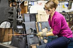 Lisa Geersten of Firelight Forge-- on Crafted in Carhartt Fly Boots, Carhartt Overalls, Black Overalls, Faded Jeans, Guys Be Like, Girls Show, Red Shirt, Comfortable Fashion, Girl Power