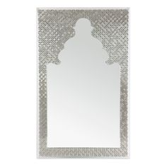 These resin frames are customizable in a range of colors. Traditional, geometric Arabesque designs are available with brushed metal, brushed brass, or mother-of-pearl inlay. May be ordered to desired dimensions. Also available with rectangular frame without cut out design.