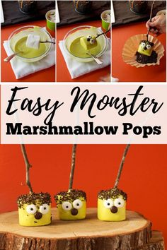 Do you need an easy Halloween treat to make for yourself or to make with your kids? Try these simple marshmallow pops! They make a tasty Halloween treat idea, and they are an easy treat to make! You'll have an impressive dessert in no time at all! Visit www.thebearfootbaker.com for the full step-by-step tutorial for these Halloween desserts! #thebearfootbaker #marshmallowpops #halloweentreeats #bakingwithkids