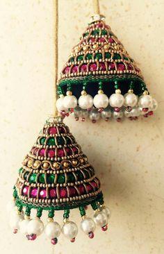 Saree Tassels Designs, Saree Kuchu Designs, Bridal Blouse Designs, Blouse Designs Silk, Bead Embroidery Patterns, Beaded Embroidery, Embroidery Designs, Thread Jewellery, Fabric Jewelry