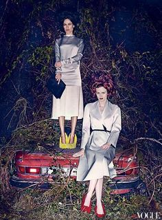Carolyn Murphy & Karen Elson by Steven Klein @ Vogue US Jan/2013. Fashion Editor: Grace Coddington.