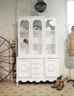 Painted Cottage Chic Shabby White French China by paintedcottages, $525.00