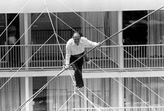 Circus legend and famed high wire walker Karl Wallenda was a true daredevil, often working without a safety net. In 1978, at age 73, he embarked on a walk 121 feet above the ground, between two hotel towers in Puerto Rico. Unfortunately, he did not complete this walk, and fell to his death. The accident was captured on film… this photo is from the beginning of Wallenda's ill-fated walk.