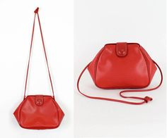80s red crossbody doctor bag | vintage clamshell purse