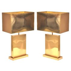 Pair of Signed Curtis Jere Brass Table Lamps.  Rose gold 'shade' vs anodized gold base
