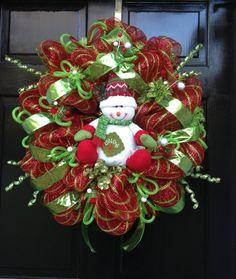 CHRISTMAS deco mesh SNOWMAN wreath by sayitwithawreathcom on Etsy, $97.50