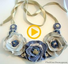 30 amazing crafts from old jeans - DIY Schmuck Jean Crafts, Denim Crafts, Art Crafts, Fabric Necklace, Diy Necklace, Charm Necklaces, Statement Necklaces, Flower Necklace, Textile Jewelry