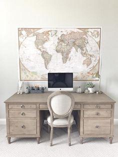 Desk is Restoration Hardware Maison Desk in Antiqued Coffee. Beautiful Homes of Instagram ceshome6