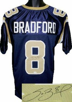 Sam Bradford signed St. Louis Rams Navy Prostyle Jersey- JSA Hologram . $324.90. Sam Bradford played college football at Oklahoma and won the Heisman Trophy. He was the first overall pick in the 2010 NFL Draft by the St. Louis Rams. It was the first time the Rams selected a quarterback in the first round of a draft since since the 1964 NFL Draft. Bradford is the first No. 1 pick out of Oklahoma since Billy Sims was selected top overall by the Detroit Lions in the 1980 NFL Draft. ...