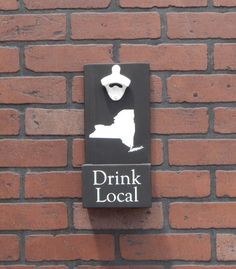 Drink Local State Wall Mounted Bottle Opener w/ Cap Catcher & Easy Removal System! Choose your State! Great for Man Caves, Fathers Day, etc! by GrizzlyBearCreations on Etsy