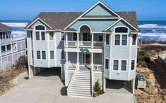 10 BR; $11,000 for 2019 Beach Cottage Exterior, Oceanfront Vacation Rentals, Outer Banks Vacation Rentals, Pine Island, Beach Cottages, Beach Houses, Private Pool, Vacation Destinations, Outdoor Structures