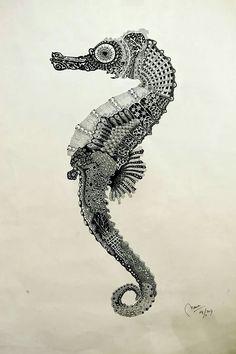 Sea horse zentangle drawing, wall art