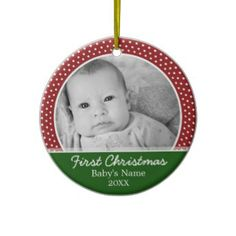 Babys First Christmas Photo Template Ornament. Add your baby's photo, the baby's name and year for celebrating his or her arrival.