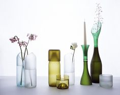 Designed by Emma Woffenden and Tord Boontje, these vases and glassware from recycled wine bottles are eco chic for sure. Reuse Wine Bottles, Wine Bottle Vases, Recycled Glass Bottles, Wine Bottle Crafts, Bottles And Jars, Glass Jars, Beer Bottle, Wine Glass, Tord Boontje