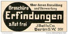 Original-Werbung/ Anzeige 1914 - BROSCHÜRE  ERFINDUNGEN / BETT BERLIN- ca. 45 x 25 mm