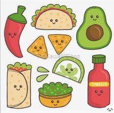 Cute Food Drawings, Mini Drawings, Cute Little Drawings, Cute Kawaii Drawings, Doodle Drawings, Food Drawing Easy, Griffonnages Kawaii, Arte Do Kawaii, Kawaii Doodles