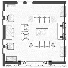 Sketches for furniture arrangement in living rooms for Drawing room floor design